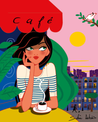 illustration of a woman in a café in a city