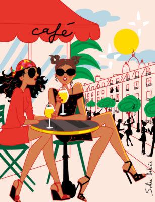 illustration of 2 women in a café terrace in a city