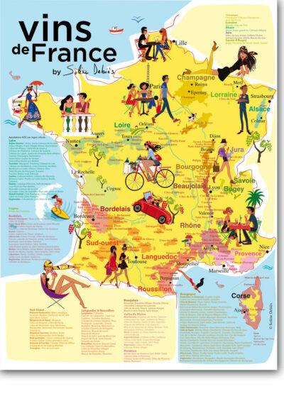 affiche carte vin France
