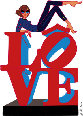 illustration of a woman on the sculpture Love in New-york