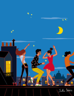 illustration of people dancing on Paris rooftops