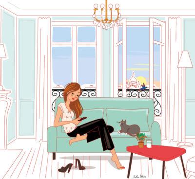 illustration for Van Cleef & Arpels : woman in a sofa in Paris with Sacré-cœur