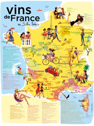 affiche de la carte des vins de France - toutes les appellations AOP et les régions